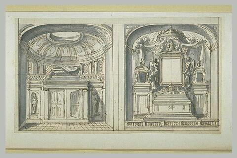 Etudes d'un tombeau et d'un autel d'église