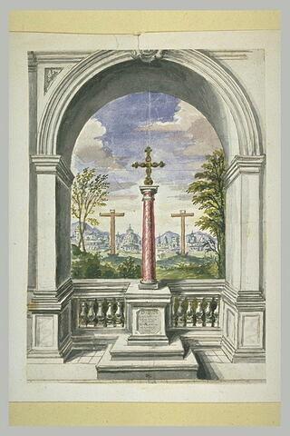 Croix sur une colonne, dans une arcade ouverte sur un paysage