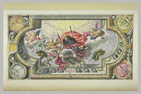 Saint Roch et des anges sur des nuages, projet pour un plafond