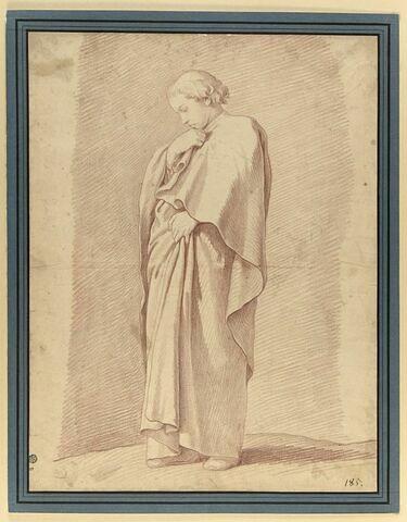 Jeune moine, debout, drapé, de profil, pensif