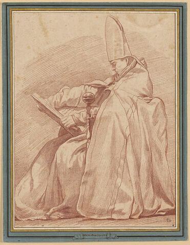Un évêque assis, tenant un livre