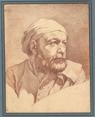 Tête d'homme barbu, de trois quarts, coiffé d'un bonnet