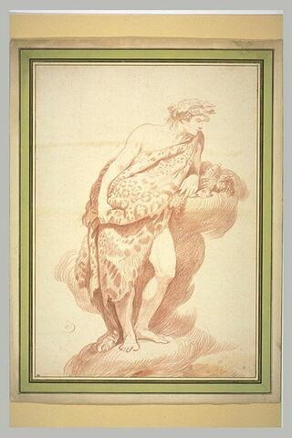 Bacchus debout, drapé dans une peau de tigre