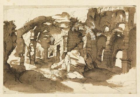 Vue d'une partie de l'intérieur du Colisée à Rome