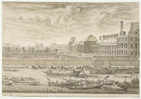 Vue du Château des Tuileries, prise de la Seine