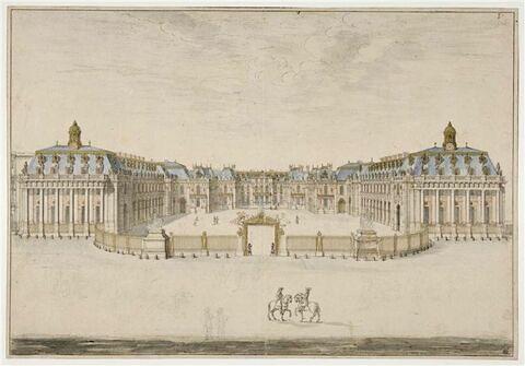 Vue du château de Versailles depuis l'avant-cour