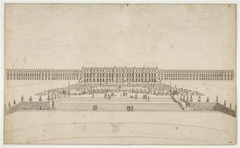 Vue du Château de Versailles,  et des deux ailes, du côté des jardins