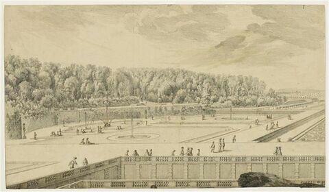 Château de Vaux-le-Vicomte, vue et perspective du parterre de la Couronne