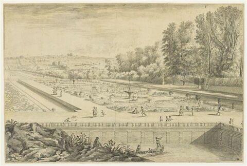 Château de Vaux-le-Vicomte, vue et perspective du parterre de fleurs