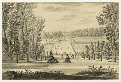 Château de Vaux-le-Vicomte, perspective latérale du rond d'Eau