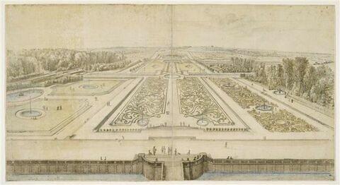 Château de Vaux-le-Vicomte, vue et perspective générale des jardins
