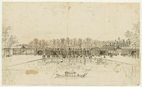 Les cascades du château de Fontainebleau vues de face