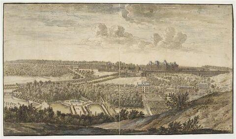 Château et  parc de Meudon, vus du côté du village de Fleury