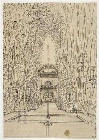 Vue des jardins de la maison de Le Brun à Montmorency
