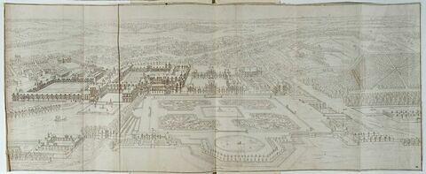 Vue perspective du château et du jardin de Fontainebleau