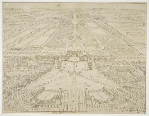 Vue perspective de Versailles du côté des écuries du château