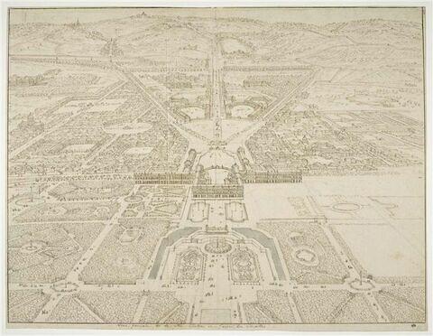 Vue générale de la ville, château et jardins de Versailles