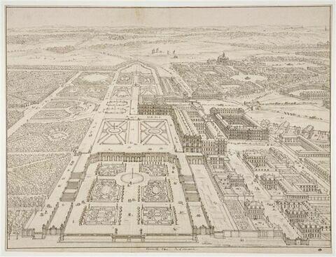 Vue de Versailles du côté de l'Orangerie du château