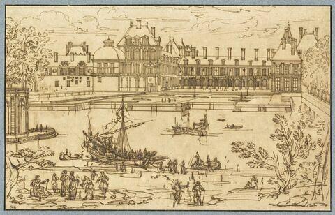 Vue du château de Fontainebleau du côté de l'étang