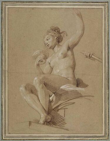 Jeune femme tenant une coupe, assise sur une draperie