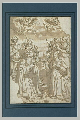 Saint Antoine priant avec les martyres, Lucie, Agathe, Apollonie, Eustache