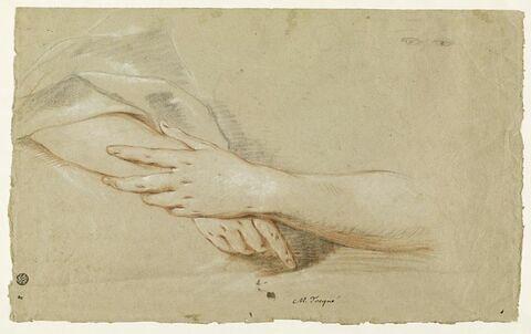 Deux mains de femmes, l'une couvrant l'autre