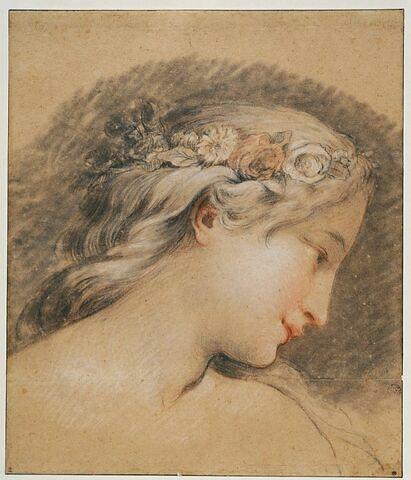 Tête de jeune fille couronnée de roses, vue de profil : Hébé