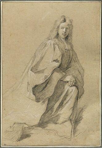 Homme d'église portant perruque, un genoux à terre