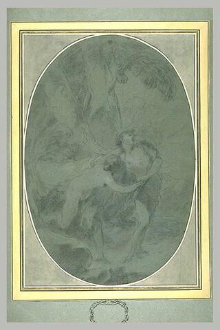 Deux figures enlacées, dans un bois