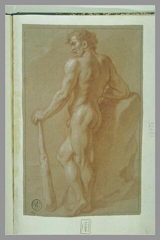Hercule nu, debout, de profil vers la gauche