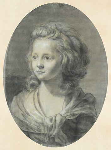 Portrait d'une jeune fille, les cheveux bouclés