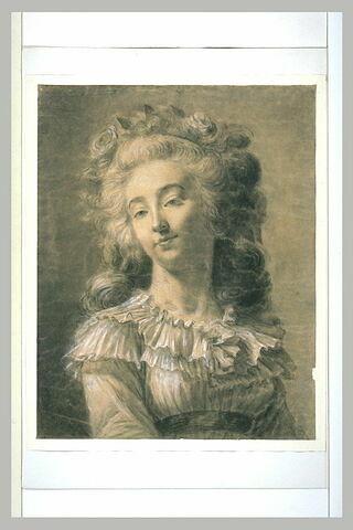 Portrait d'une jeune femme coiffée à la manière de Marie Antoinette