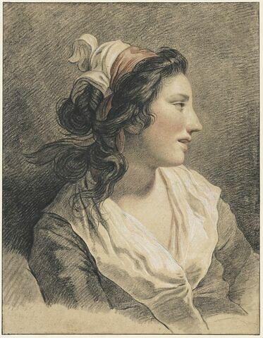 Buste de jeune femme, de profil