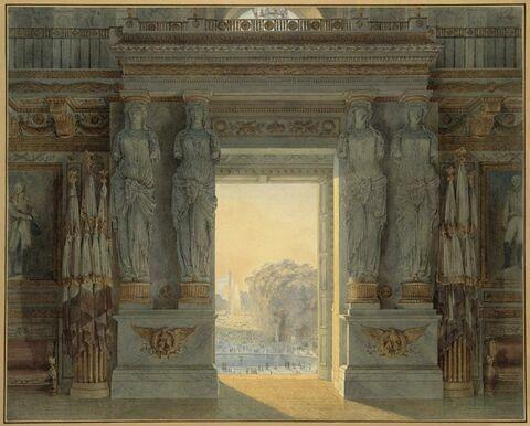 Vue de la salle des maréchaux et du jardin des Tuileries