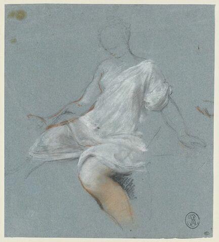 Femme assise, en chemise, tournée vers la gauche