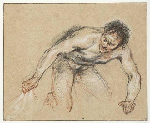 Homme nu, agenouillé, soulevant une draperie