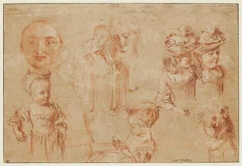Masque de Pierrot, fillettes vues en buste, homme drapé et visage de femme