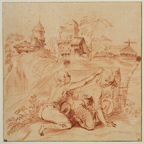 Deux jeunes garçons agenouillés dans un paysage