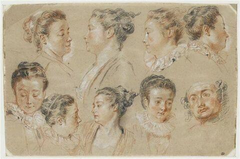 Huit études de têtes de femme, et une tête d'homme