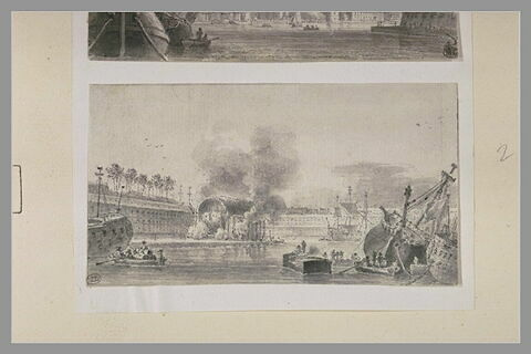 Vue prise dans le port de Brest : les capucins, la cale couverte