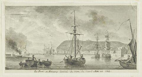 Le port de Fécamp vu de la rive du nord-est, en 1786