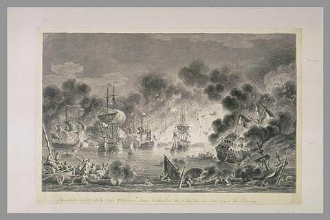 Première vue du combat de Tchesmé, 1770