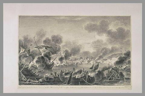 Quatrième vue du combat de Tchesmé, 1770