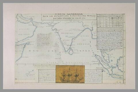 Carte explicative des expéditions des français aux Indes Orientales