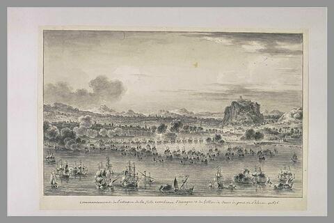 Première vue de l'attaque des flottes d'Espagne et de Hollande à Palerme1676