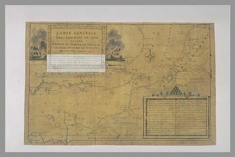Carte explicative des combats livrés dans la Manche depuis 1639 à 1690