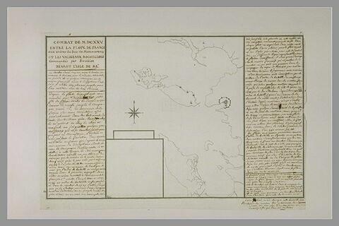 Carte explicative non terminée, avec texte historique manuscrit