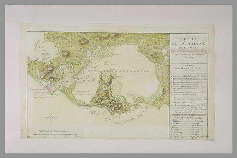Carte et plan explicatifs de la prise de Carthagène en Amérique, en 1697