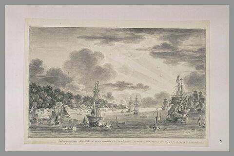 Débarquement d'artillerie entre Coxima et le château du Moro à Cuba, en 1762
