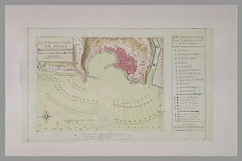 Plan de Gênes pour l'explication du bombardement de 1684